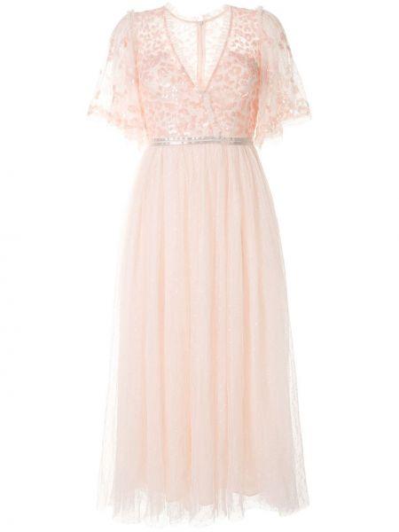 Розовое платье из фатина с V-образным вырезом с короткими рукавами Needle & Thread