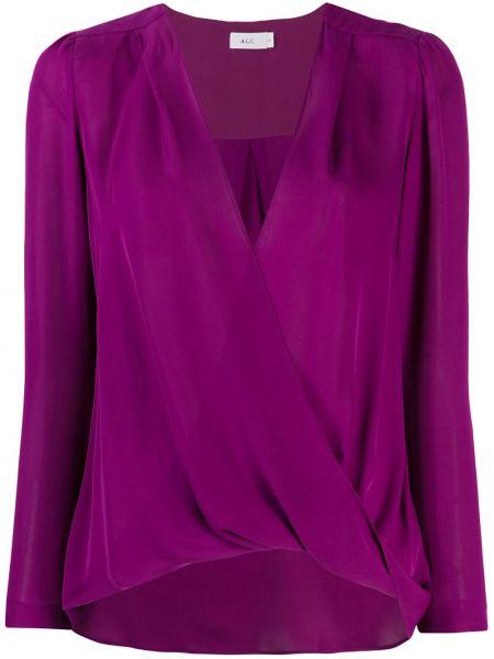 Блузка с длинным рукавом с V-образным вырезом с драпировкой Alc