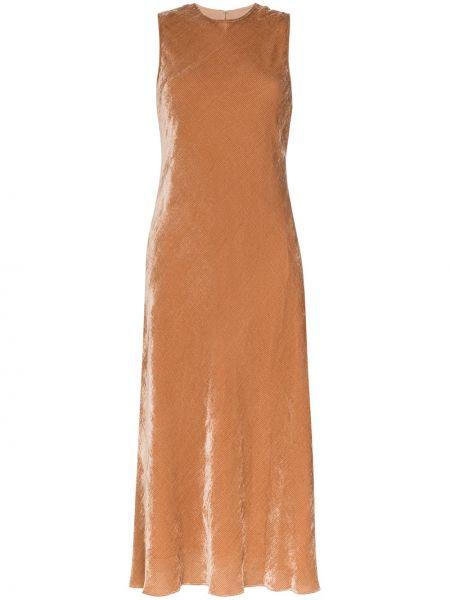 Приталенное шелковое розовое платье миди с драпировкой Sies Marjan