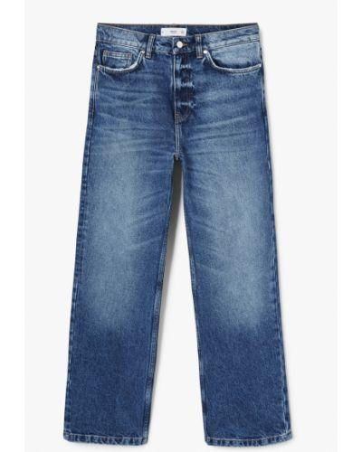 Прямые джинсы с эффектом потертости на пуговицах Mango