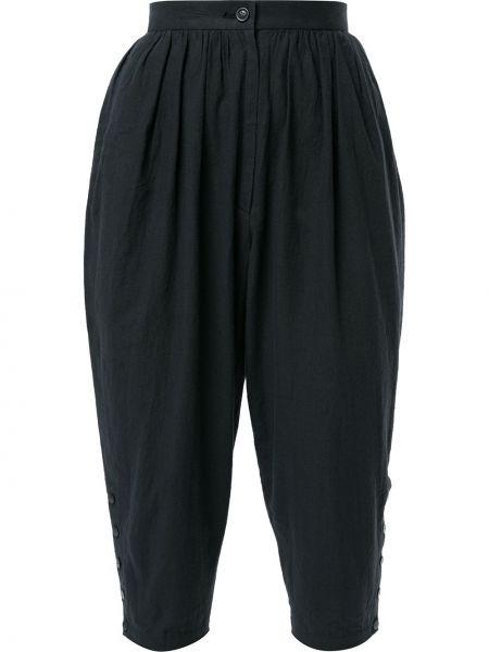 Черные брюки винтажные с поясом с манжетами Issey Miyake Pre-owned