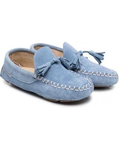Синие кожаные мокасины круглые Babywalker