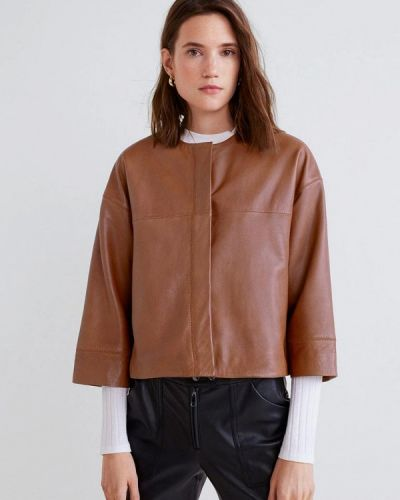Кожаная куртка весенняя коричневая Mango