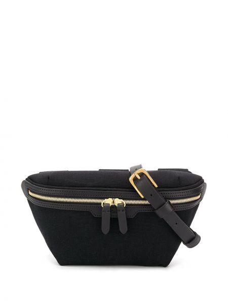 Парусиновая черная поясная сумка с помпоном с поясом Mismo