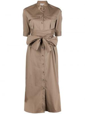 Коричневое с рукавами платье-рубашка с воротником Antonelli