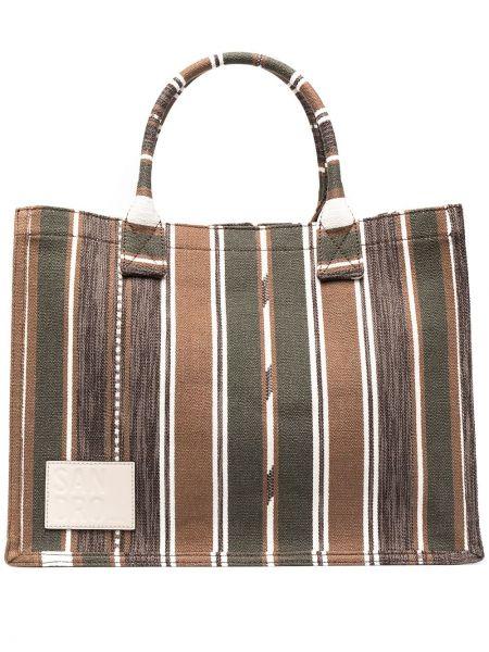 Хлопковая коричневая сумка-тоут в полоску Sandro Paris