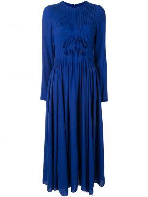 Niebieska sukienka midi rozkloszowana z długimi rękawami Gabriela Hearst