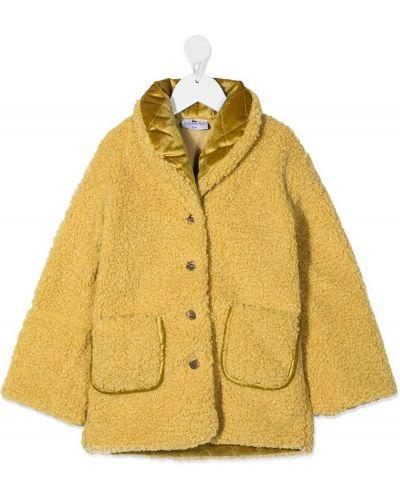 Желтое стеганое длинное пальто с вышивкой Raspberry Plum