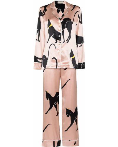 Шелковая пижама - розовая Olivia Von Halle