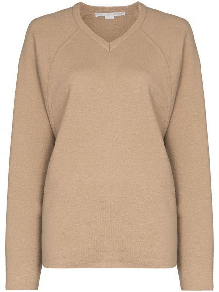 С рукавами шерстяной коричневый джемпер с V-образным вырезом Stella Mccartney