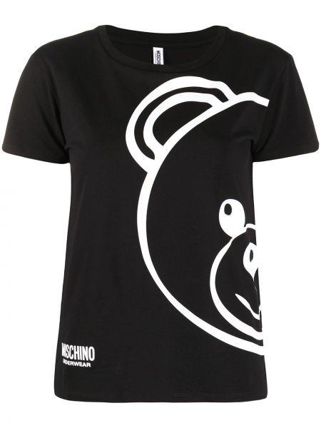 Czarny t-shirt bawełniany krótki rękaw Moschino Underwear
