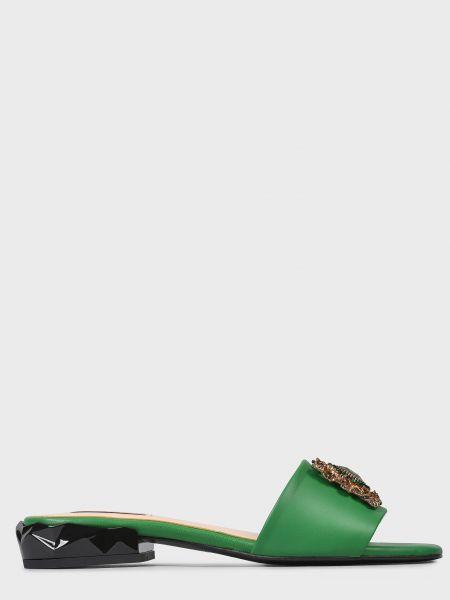 Кожаные шлепанцы - зеленые Helena Soretti