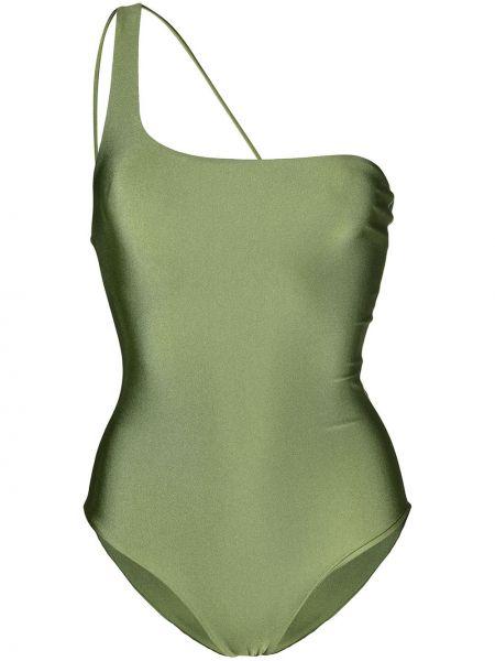Нейлоновый зеленый слитный купальник на одно плечо Jade Swimwear
