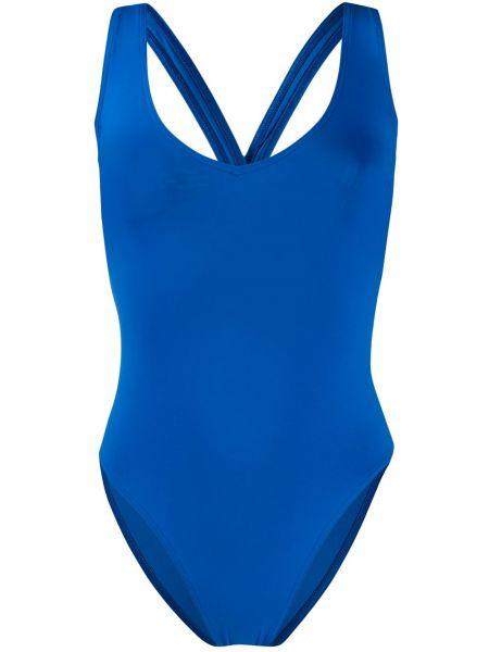 Синий слитный купальник на бретелях с вырезом эластичный Sian Swimwear