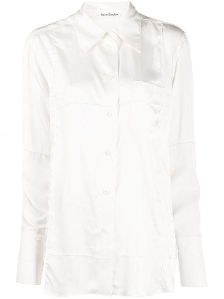 Biała koszula z długimi rękawami z wiskozy Acne Studios
