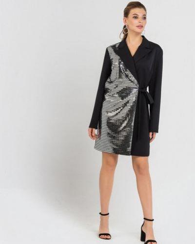 Костюмное черное платье мини с пайетками на торжество Vovk