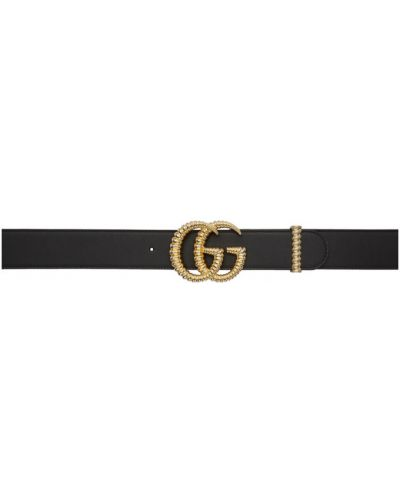 Skórzany pasek złoto z paskiem Gucci