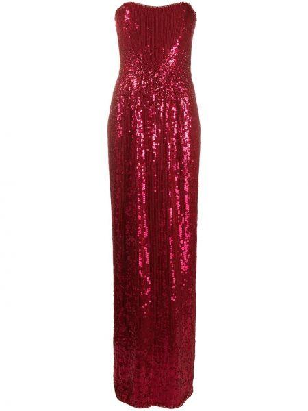 Красное платье с пайетками с вырезом Jenny Packham