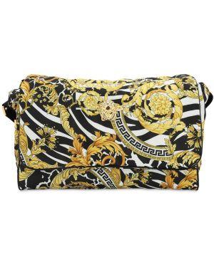 Czarna torebka z nylonu z printem Versace