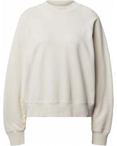 Biała bluza ze stójką bawełniana prążkowana Drykorn