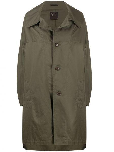 Зеленое длинное пальто с капюшоном с воротником Y's