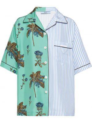 Koszula w kwiaty - zielona Prada