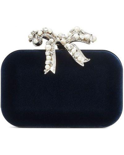 Niebieska kopertówka srebrna perły Jimmy Choo