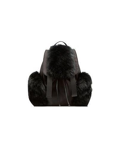 Черный рюкзак с мехом Max & Moi