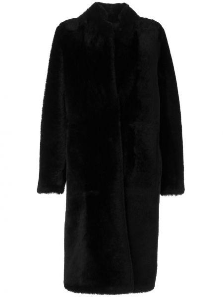 Черная длинная шуба из овчины на пуговицах Yves Salomon
