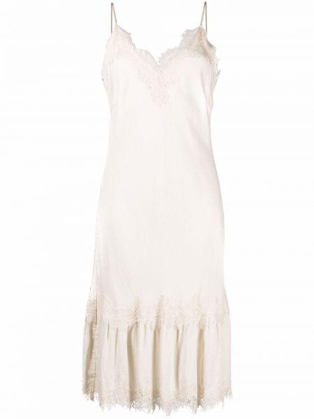 Кружевное белое платье трапеция из вискозы Gold Hawk