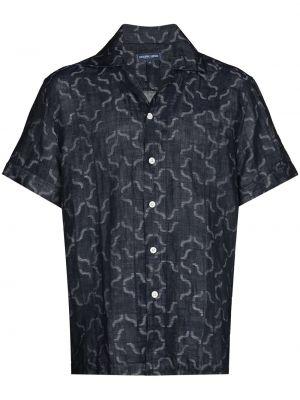 Niebieska koszula bawełniana z printem Frescobol Carioca