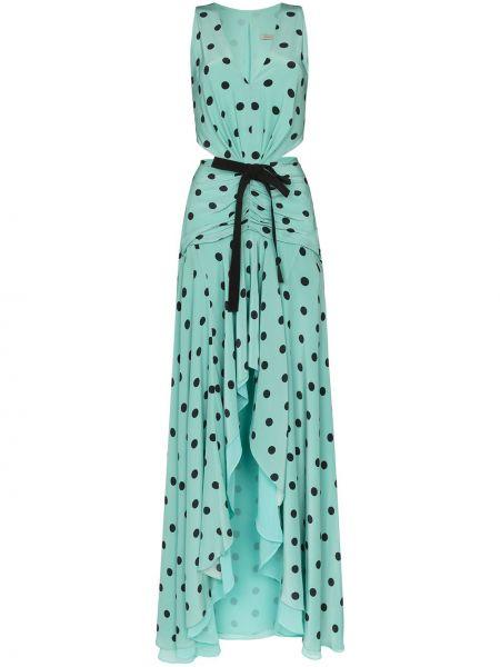 Синее шелковое платье без рукавов на молнии Silvia Tcherassi