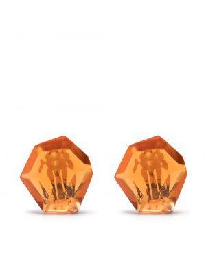 Pomarańczowe kolczyki sztyfty srebrne oversize Monies