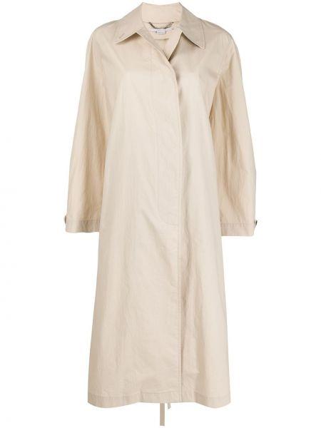 Длинное пальто бежевое без воротника Stella Mccartney