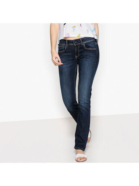 Прямые джинсы с поясом потертые Pepe Jeans