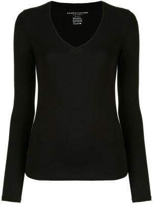 Черная рубашка с V-образным вырезом из вискозы стрейч Majestic Filatures