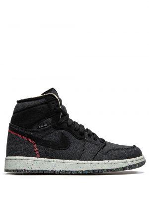 Черные высокие кроссовки на шнуровке из канваса Jordan