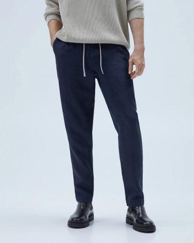 Синие льняные зауженные брюки Zara