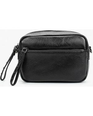 Кожаная сумка через плечо черная Valensiy