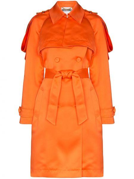 Оранжевый длинное пальто с карманами двубортный Moschino