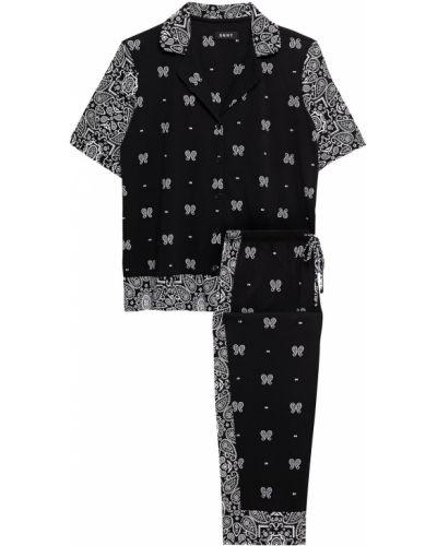 Черная трикотажная пижама с карманами Dkny