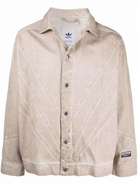 Хлопковая джинсовая куртка с нашивками с воротником Adidas