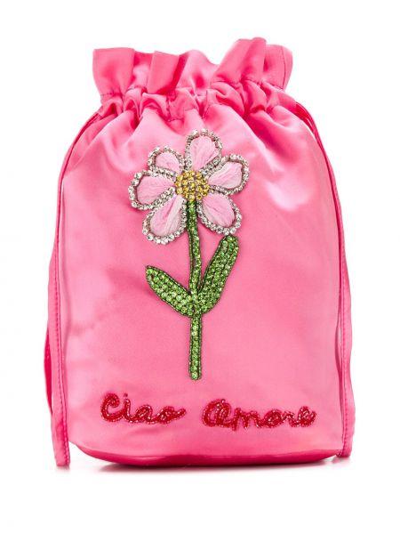 Satynowa różowa torebka mini z haftem Giada Benincasa