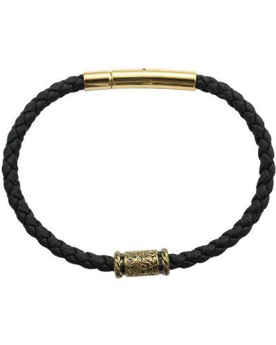 Кожаный браслет позолоченный золотой Swanky