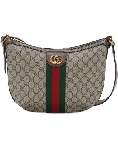 Кожаная коричневая сумка на молнии Gucci