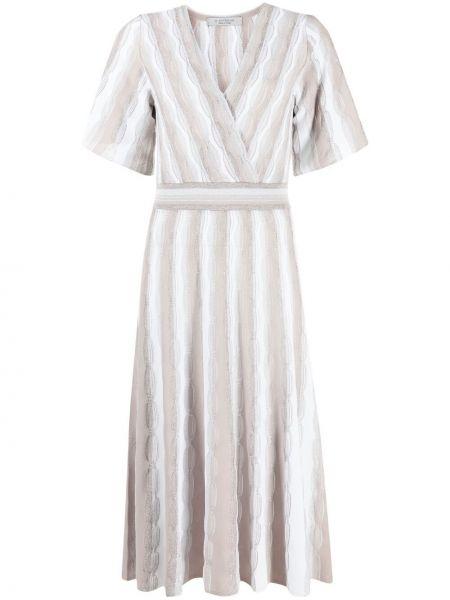 Серое платье миди в полоску с вырезом D.exterior