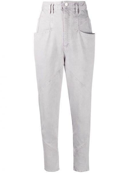 Bawełna niebieski jeansy do kostek z kieszeniami z łatami Isabel Marant