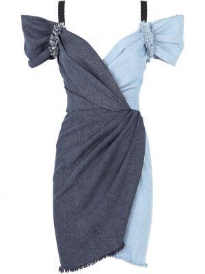 Синее джинсовое платье на бретелях с V-образным вырезом Dolce & Gabbana
