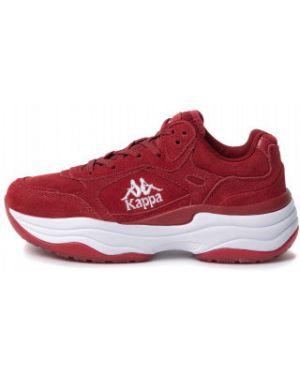 Красные классические кроссовки на шнуровке из натуральной кожи Kappa