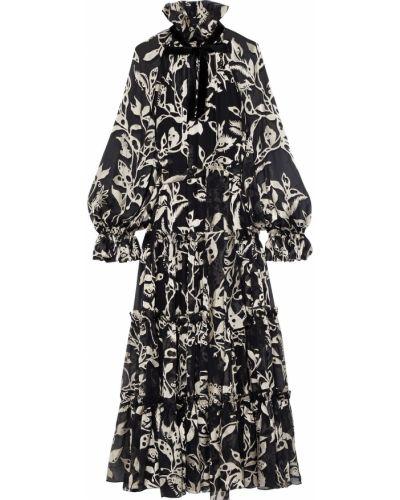 Шифоновое платье макси - черное Zimmermann